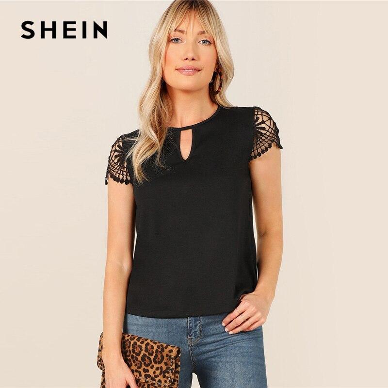 Shein preto keyhole pescoço guipure rendas cortar manga curta topo t camisa feminina verão em torno do pescoço sólido senhora do escritório camisetas casuais