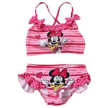 Baby Girls Cartoon Minnie Mouse 2Pcs Summer Swimsuit Tankini Bow stripe Bikini Set Swimwear Beachwear Bathing Suit