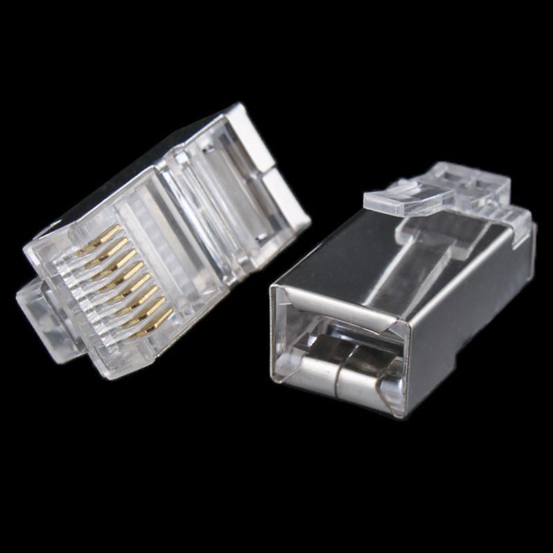 Venta al por mayor, 10 Uds., Conector de cabeza de Cable de red RJ45 RJ-45 8P8C, conector Modular de escudo metálico CAT5 para Cable Cat5 Cat5e, en venta, #8799