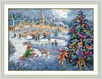 a christmas celebration in snow printed canvas dmc counted cross stitch kits printed cross stitch set embroidery needlework