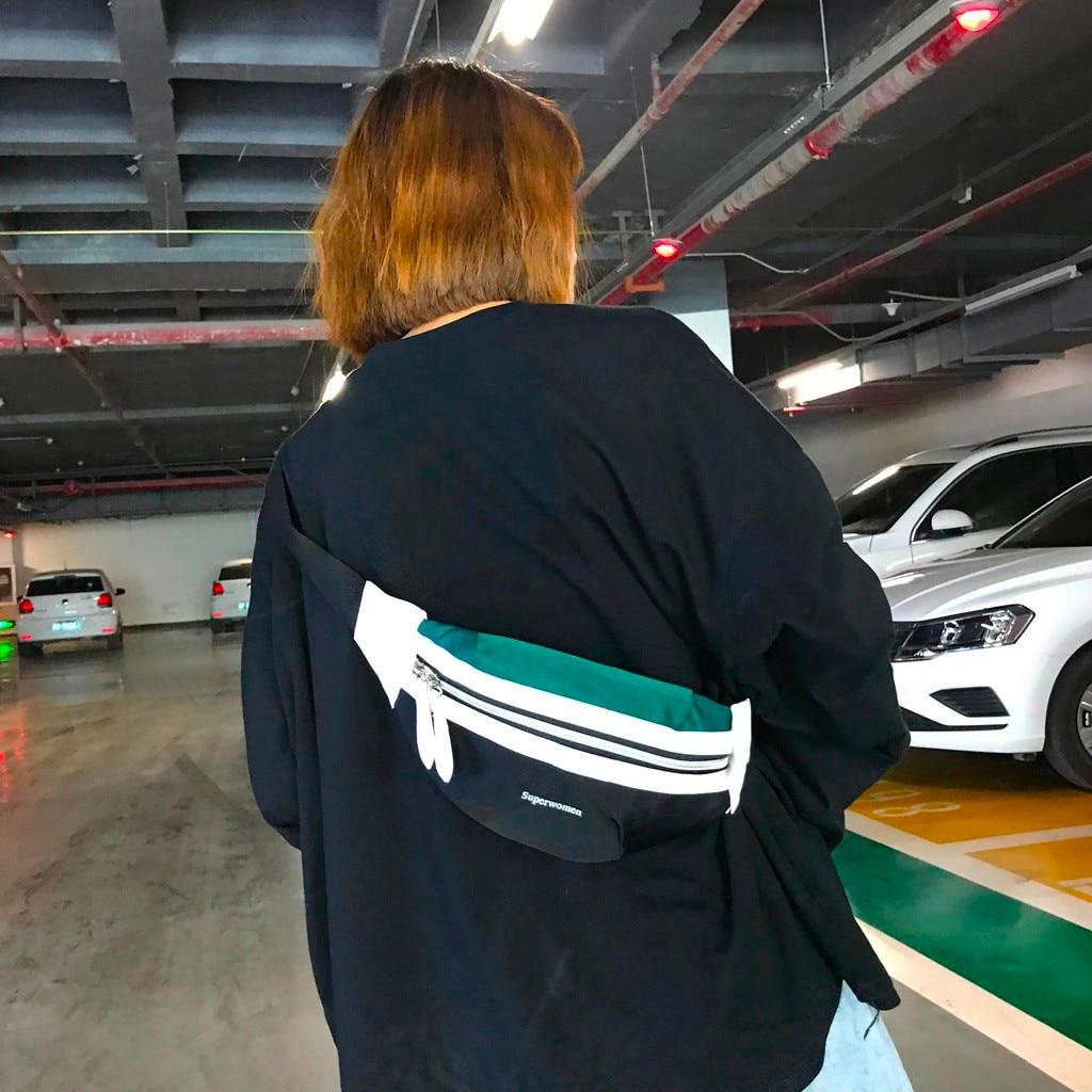 Riñonera para mujer, riñonera de lona a la moda con contraste de letras y cremallera, bolsas multifunción para el pecho, mochilas para mujer heuptas