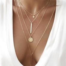 Moda yıldız yuvarlak zincir kolye çok katmanlı uzun kolye kadınlar basit altın kolye seti Charm sevgililer hediye