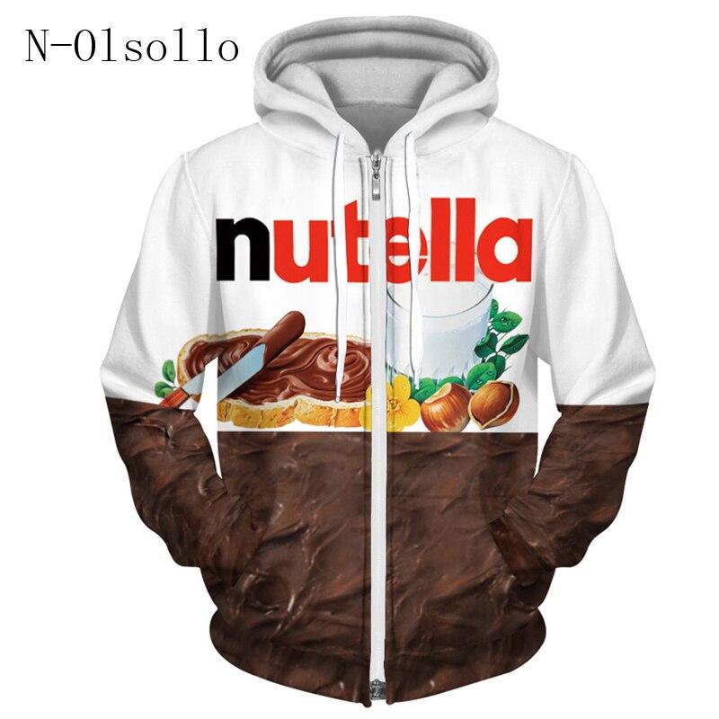 N-olsollo-sweat-shirt à capuche, Harajuku Nutella, imprimé en 3D, sweat-shirt à manches longues, fin, vêtement pour femme