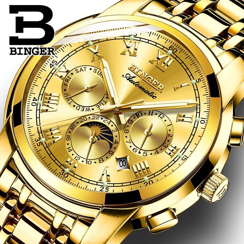 سويسرا التلقائي الميكانيكية ووتش الرجال بينغر الفاخرة العلامة التجارية الرجال الساعات الياقوت ساعة للماء relogio masculino B1178-7