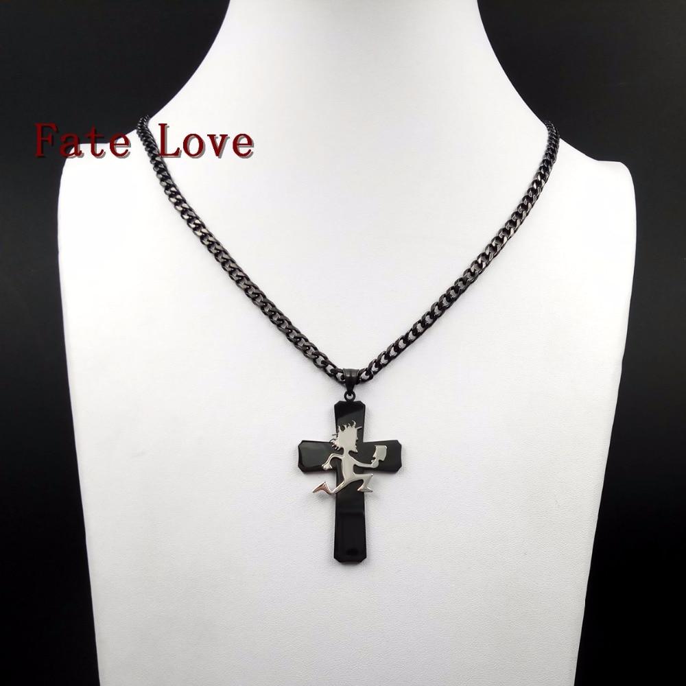 Ожерелье Fate Love, из нержавеющей стали, с большим крестом, 5 мм, 24 дюйма
