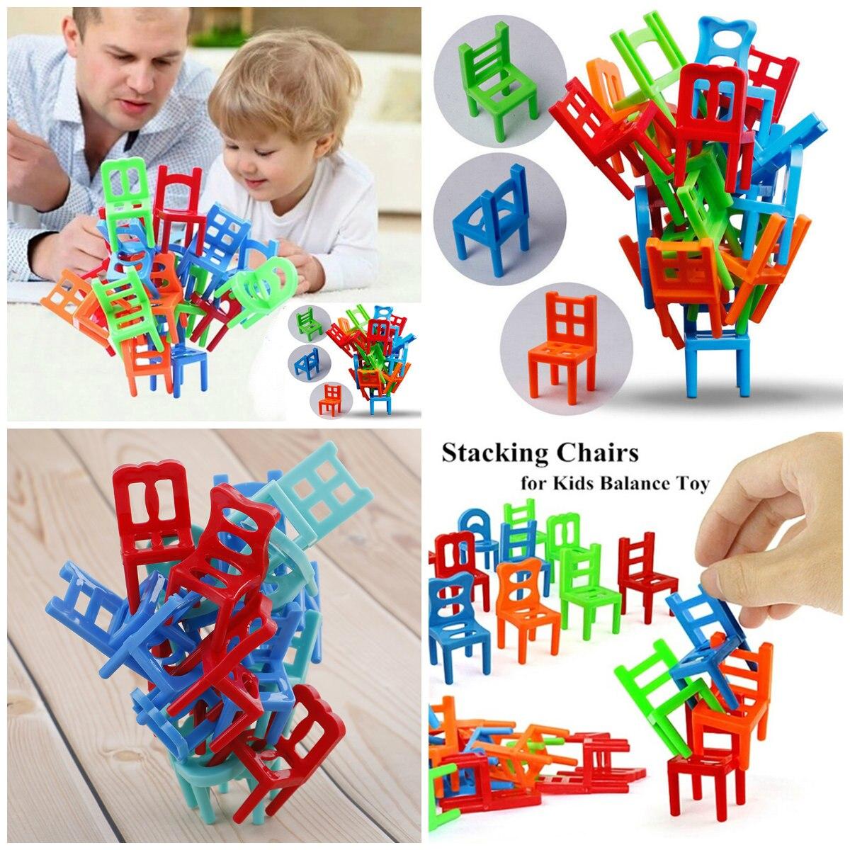 18 teile/satz Kinder Pädagogisches Balance Stapeln Stühle Spielzeug Kinder Schreibtisch Puzzle Ausgleich Ausbildung Spielzeug Balance Stühle