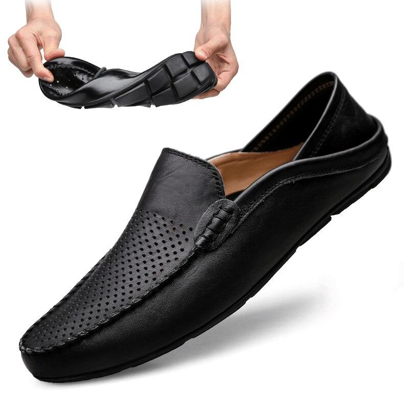 Italienische Herren Schuhe Casual Luxury Sommer Männer Faulenzer Echtem Leder Mokassins Licht Atmungs Slip Auf Boot Schuhe Jkpudun