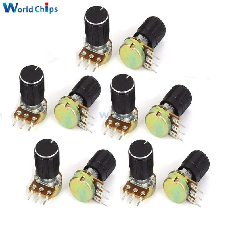 5pcs WH148 Potentiometer Resistor B1K B5K B20K B50K B100K B500K 3Pin Knurled Shaft Linear Taper Rotary with Cap Knob for Audrino