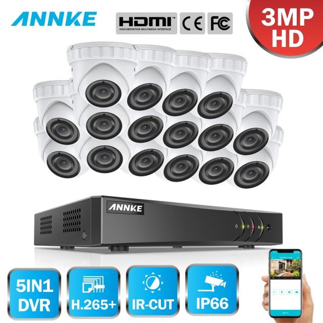 Sistema de Seguridad de vídeo de 3MP HD ANNKE 16CH 5IN1 DVR 16 piezas TVI Domo cámara exterior resistente al agua PIR detección de movimiento hogar CCTV Kit
