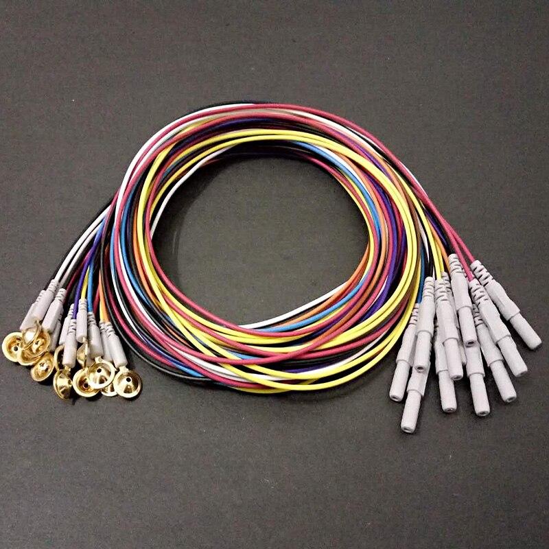 10 sztuk Multicolor Din 1.5mm wtyk żeński i pozłacane miedź elektrody snu mózg EEG kabel, 1.5 m