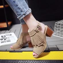 Lucyever Women Retro Summer Sandals Leisure Tassel Thick Heels Gladiator Sandals Peep Toe Brown Black Shoes Zapatos De Mujer