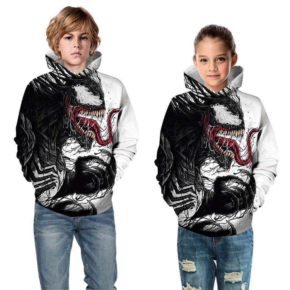 2019 invierno otoño niños Cosplay 3D Hoodies Boys Girls City Hero Venom estampado sudaderas niños divertidos jerseys ropa Tops