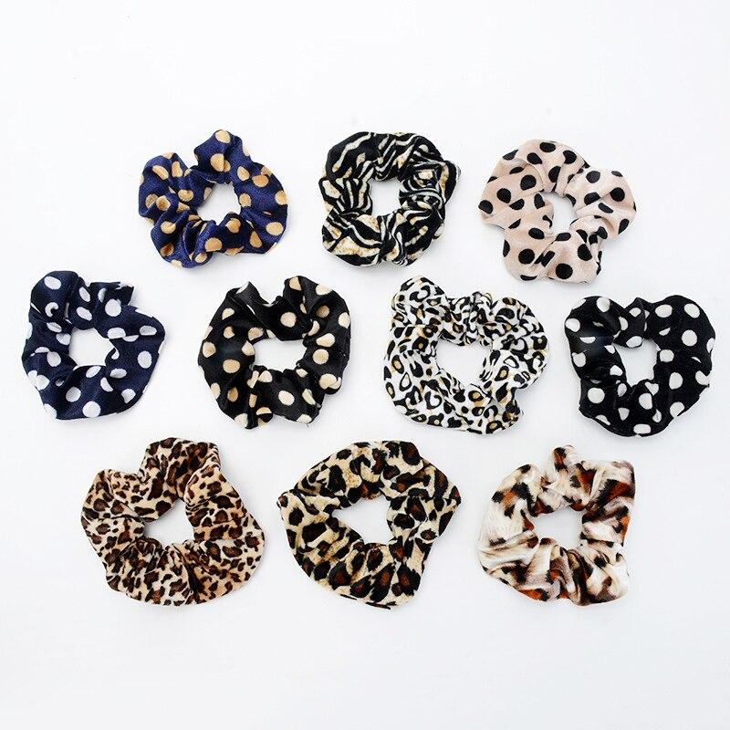 Suave estampado Animal leopardo terciopelo pelo Scrunchie Cola de Caballo titular del Pelo elástico banda para el pelo de las mujeres accesorios para el cabello