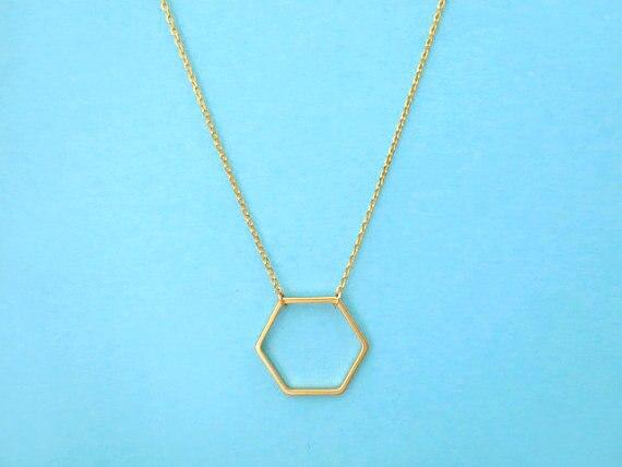 10 Uds. Collar de hexágono geométrico Línea Abierta Hive Sexangle honeycomb colgante cadena collares mujeres hermana señoras Collar joyería