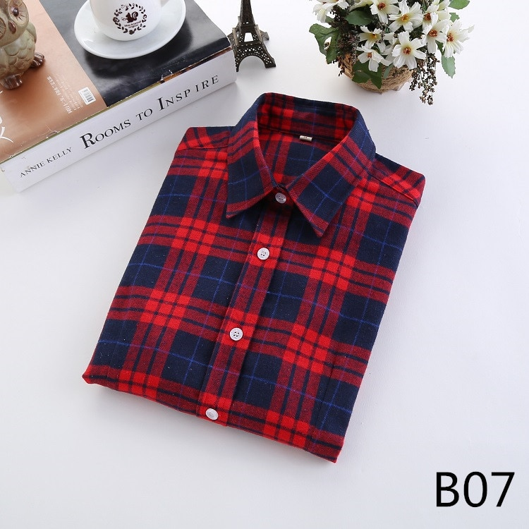 2016 Moda Plaid Shirt Kobiet College style damskie Bluzki Z Długim Rękawem Koszula Flanelowa Plus Rozmiar Bawełna Blusas Biuro topy 14