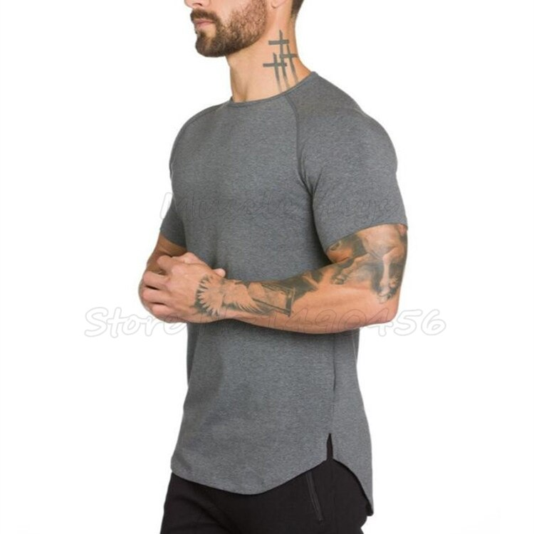 Brand gym clothing fitness t shirt men fashion extend hip hop summer short sleeve t-shirt cotton bodybuilding muscle guys tshirt