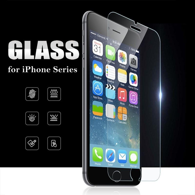 Protecteur d'écran pour iPhone, Film en verre trempé pour modèles 6s, 6, 7, 8 Plus, 5s, 5, SE, X, XR, XS Max