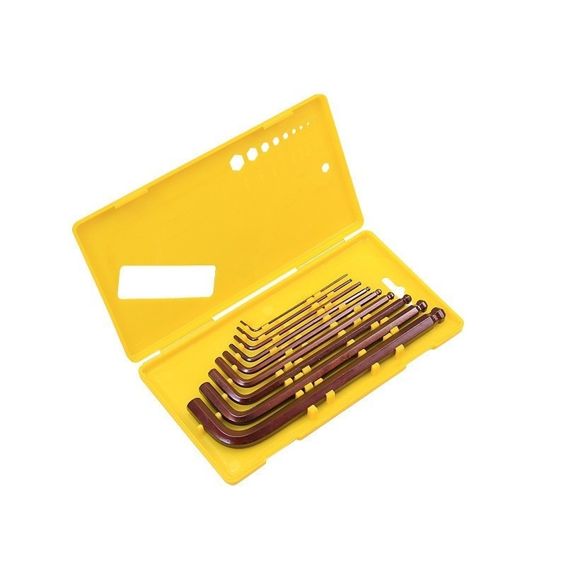 Купить с кэшбэком FINDER Universal 9pcs S2 Hex Wrench Allen Key Socket Hexagonal Wrenches Set With Box Spanner Repair Hand Tool Set Garage Tools