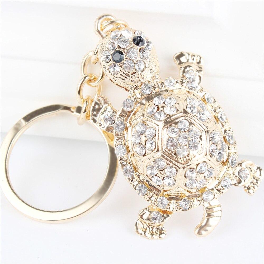 Colgante con forma de tortuga blanca, colgante con forma de tortuga, bolso de cristal con diamantes de imitación, llavero, accesorios para llavero, regalo para amantes de fiestas de bodas