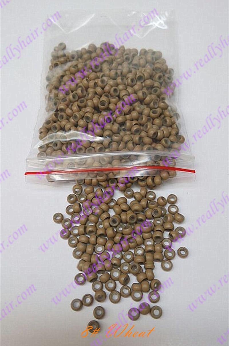 1000 unidades pacote de trigo silicone micro nano talao com linha de silicone para