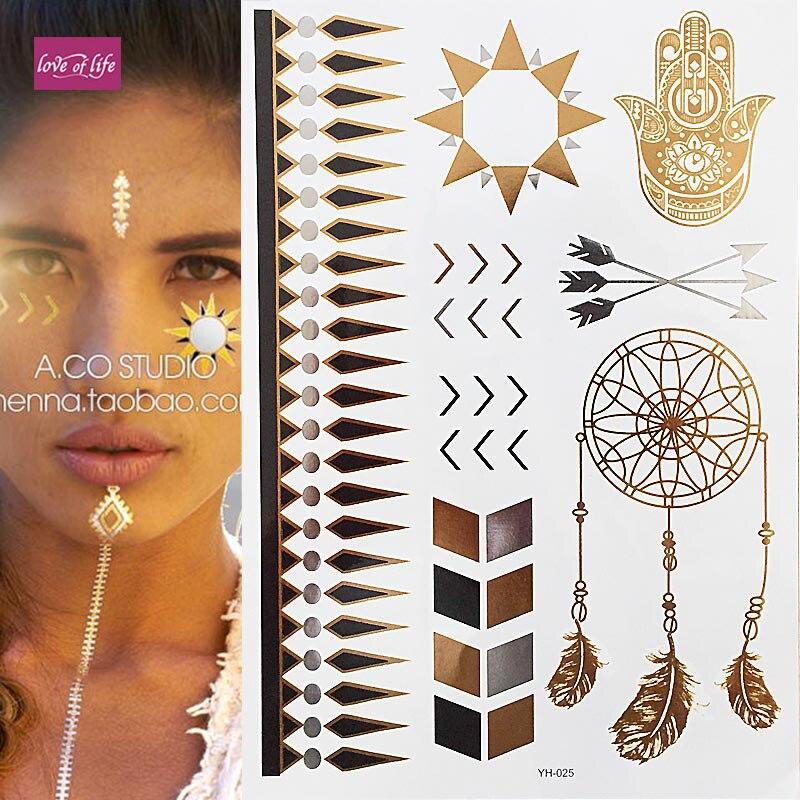 Boho Gold Henna Metallic Flash Bindi Temporary Tattoos Sticker Bohemian