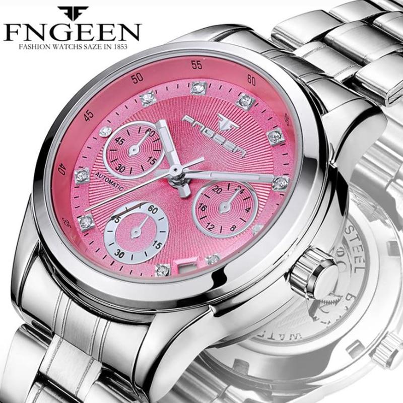 Relojes FNGEEN de lujo de alta calidad de marca de negocios para mujer 30m a prueba de agua Luminou calendario reloj de pulsera para mujer reloj de mujer