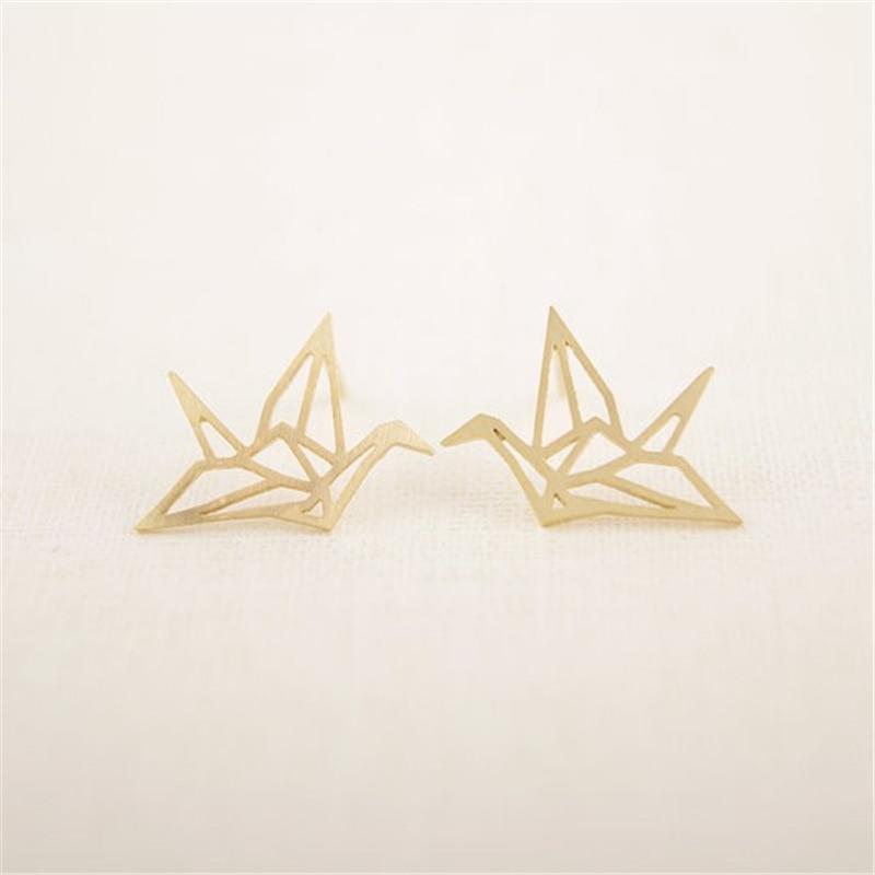 Милые серьги в виде оригами, журавлей, животных, ювелирные изделия, милые изящные птицы, искусственные маленькие, свежие очаровательные женские ювелирные изделия