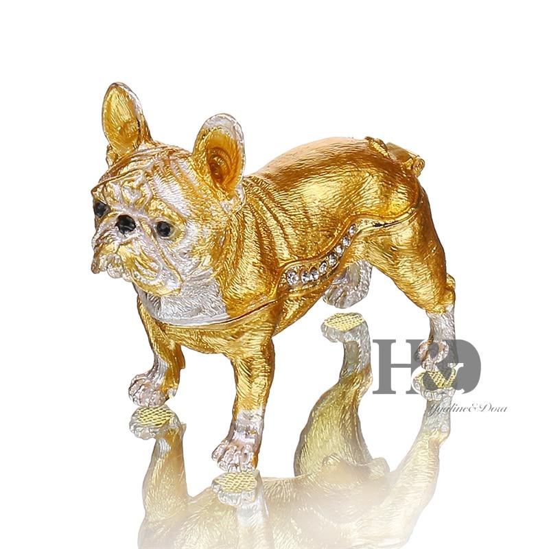 H&D 3.2 Enameled Pewter Bejeweled Gold Bulldog Trinket Box Cute Gift for Dog Lover Keepsake Box Ornament For Gift