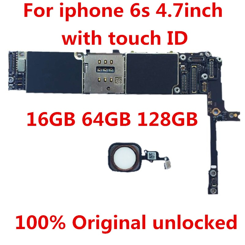 Get 100% Original unlocked For iPhone 6S 128GB Motherboard, for  iphone 6S  128GBLogic boards With Touch ID 128GB +tool+gift