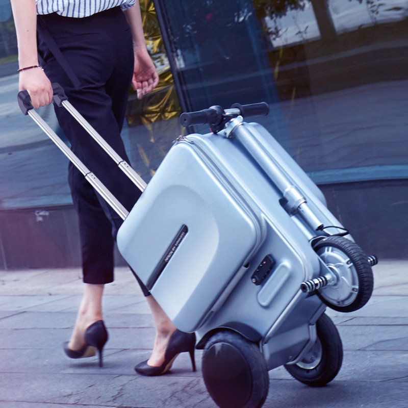 Electric Riding Trolley Travel Suitcase.Luxurious Intelligent Carry on Robot Luggage.High-capacity smart valise boarding bag