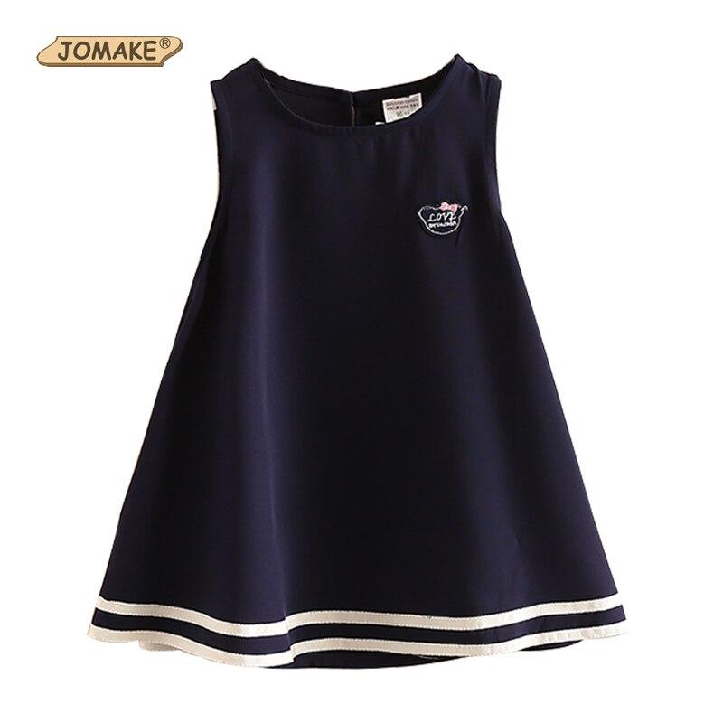 JOMAKE 2018 estilo Preppy vestido para niñas y Bebés Ropa para niñas pequeñas vestidos de bautizo vestidos para niñas 2- 8 años Azul Marino