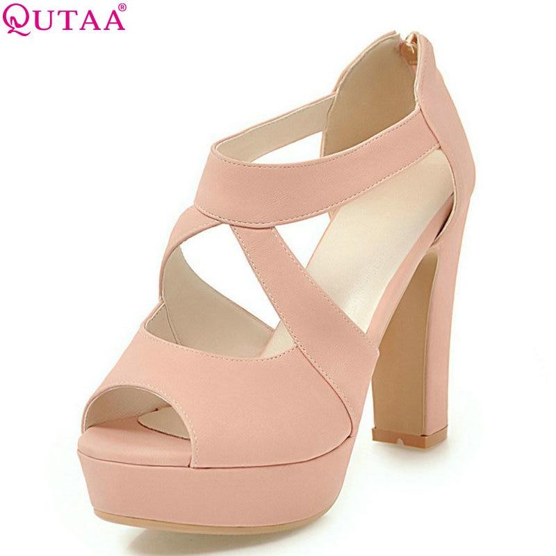 QUTAA 2020 Women Pumps Fashion Out Door Women Shoes Summer Simple All Match Square High Heel Peep Toe Women Pumps Size 34-43