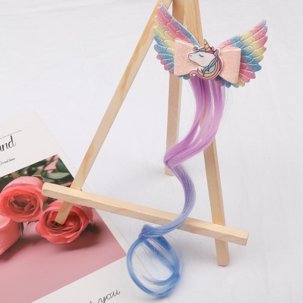 IBOWS accesorios para el cabello Bling pinzas para el cabello para niñas horquillas unicornio alas princesa horquillas lazos de pelo con purpurina niños sombreros