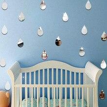 22 pièces de ensemble autocollant goutte de pluie forme miroir autocollant Mural pour enfants chambre décor à la maison pépinière mur décalcomanie enfants bébé maison murale