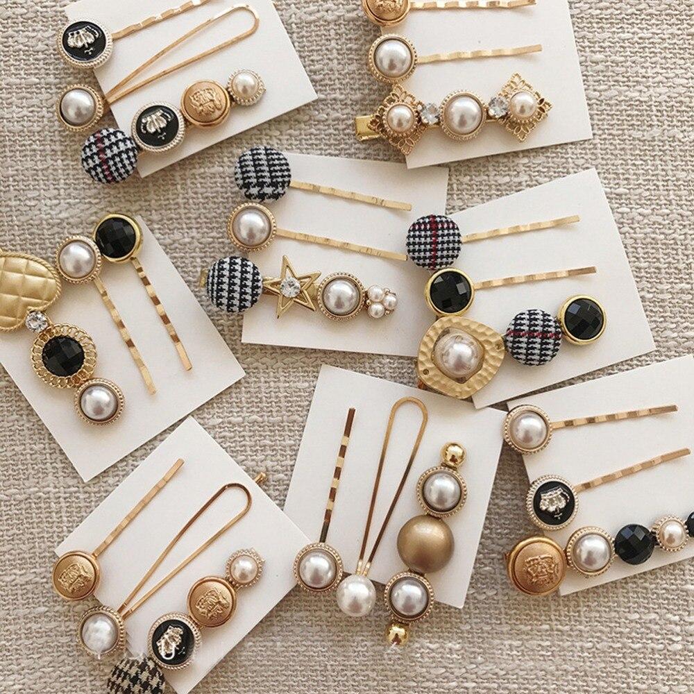 Pinzas para el cabello M MISM, accesorios para el cabello para mujer, accesorios para el cabello para niñas, horquillas de perlas clásicas, juego de tres hebillas de aleación para el cabello, pasador