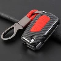 carbon fiber 3 buttons car key cover case for toyota camry highlander corolla prado reiz crown rav4 flip key shell keychain