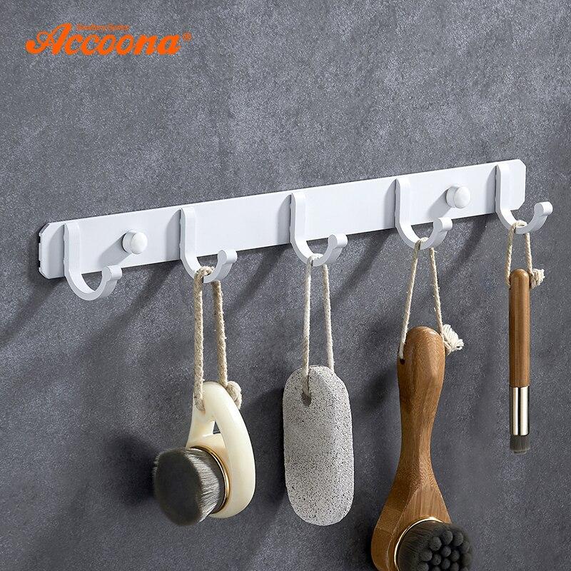 Accoona Hause Robe Haken Küche Wand Montiert Tür Halter Haken Aufhänger Weiß Spray Farbe Bad Robe Haken up A11691G
