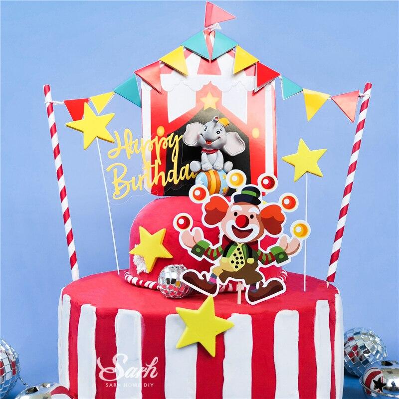 Adornos de pastel de circo y payaso Bling, decoración de Hada de cumpleaños feliz para el Día del Niño, suministros para horneado de fiesta, regalo dulce