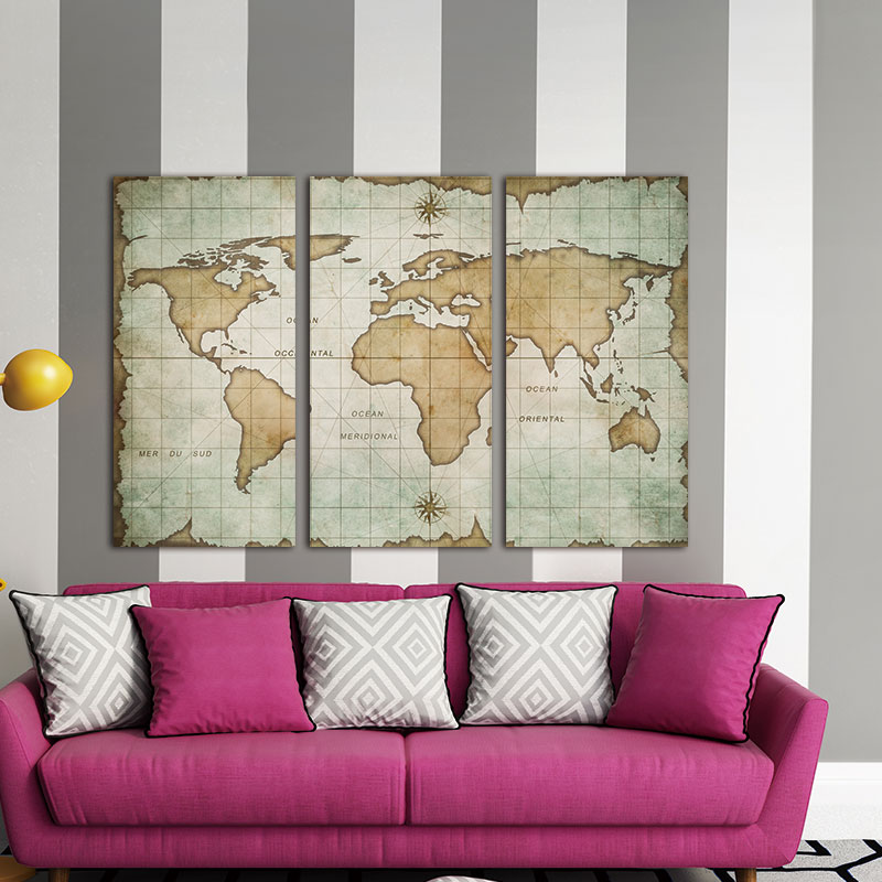 Mapa Do Mundo Do Vintage Da Lona do Retrato da parede 3 Painéis Pintura A Óleo Ofegante Em Canas Pintura Início Decoração Da Parede Para Sala de estar
