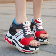 Женские кроссовки с открытым носком на высоком каблуке, повседневные сандалии на платформе, на толстой мягкой подошве, на шнуровке, лето 2019