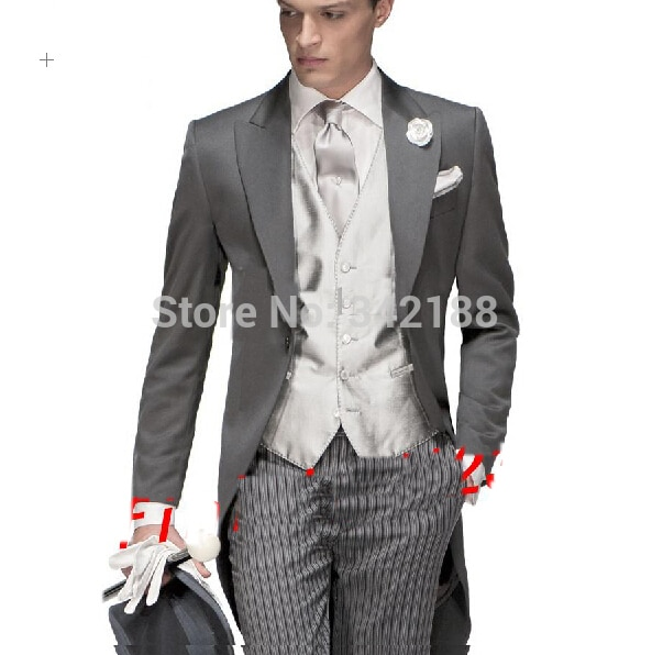 FREE shipping/Morning style One button Peak Lapel Groom Tuxedos Groomsmen Men's Wedding Suits /wedding dress Suitswedding men cl