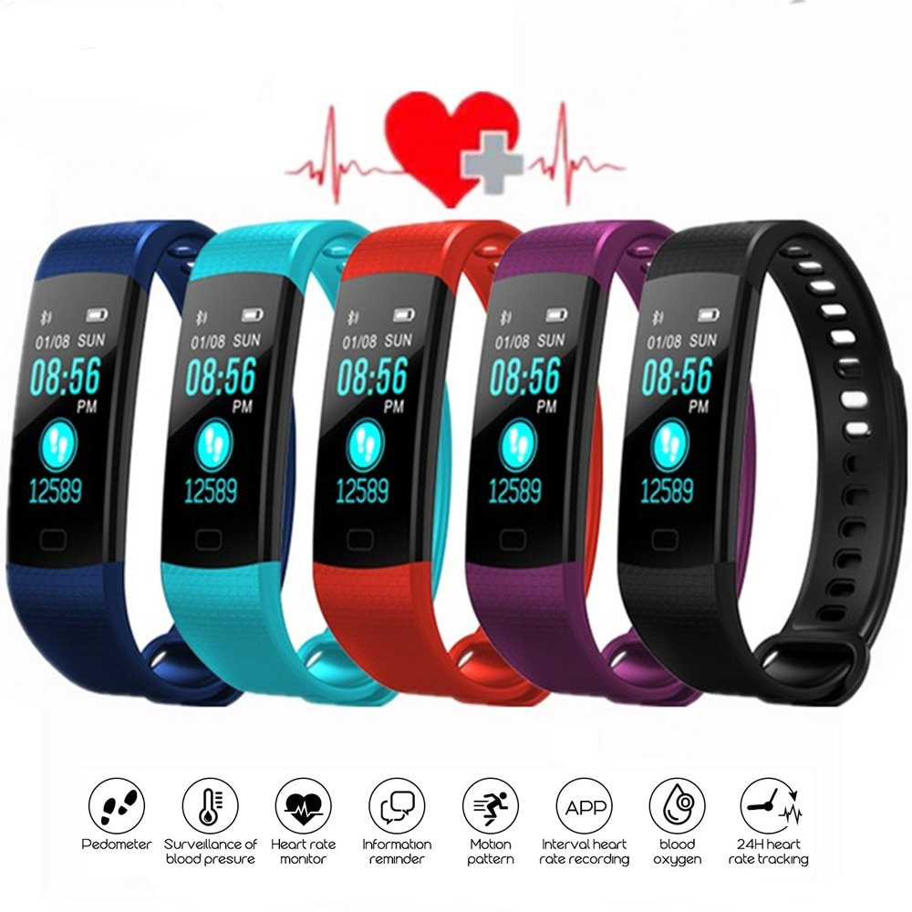 Bluetooth Smart Браслет Цвет Экран Y5 браслет монитор сердечного ритма крови Давление измерения Фитнес трекер PK Ми C1S