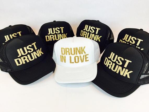 custom just drunk in love wedding Bride bridesmaid Mesh Trucker Snapback trucker hats caps bridal party favors decoration