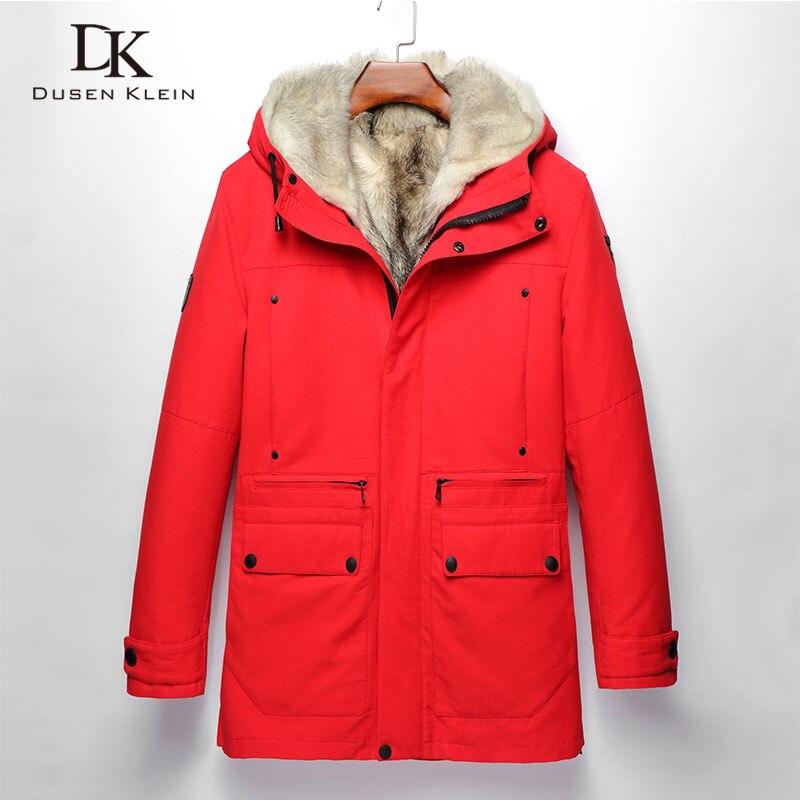 Abrigo de invierno cálido para hombre, chaqueta gruesa de piel de lobo con capucha Parker, ropa de abrigo larga de talla grande 2018, nuevo diseñador de marca de lujo W17029