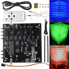 Diy 8x8x8 rgb led kit cubo de luz 3d mp3 espectro de música kit de exibição eletrônica
