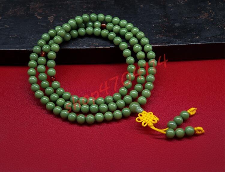 Pulsera de Bodhisattva Natural de piel verde, collares de jade blanco 108 Bodhisattva, joyería artesanal exquisita