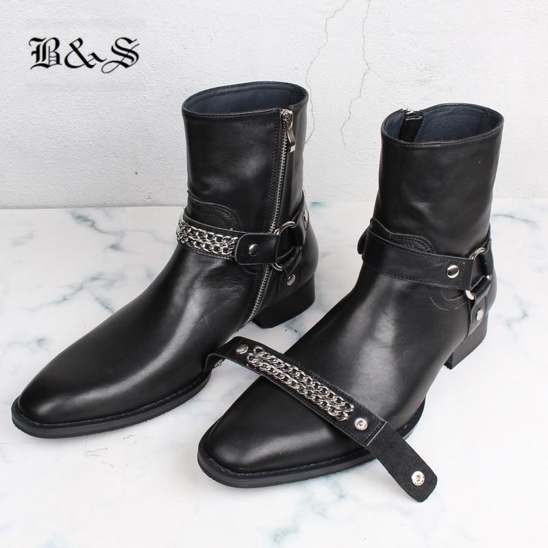 Negro & Street 2019 nuevo diseñador de cuero genuino hebilla Correa botas de tacón alto ajustado nuevo botas de cuero con dos cinturones