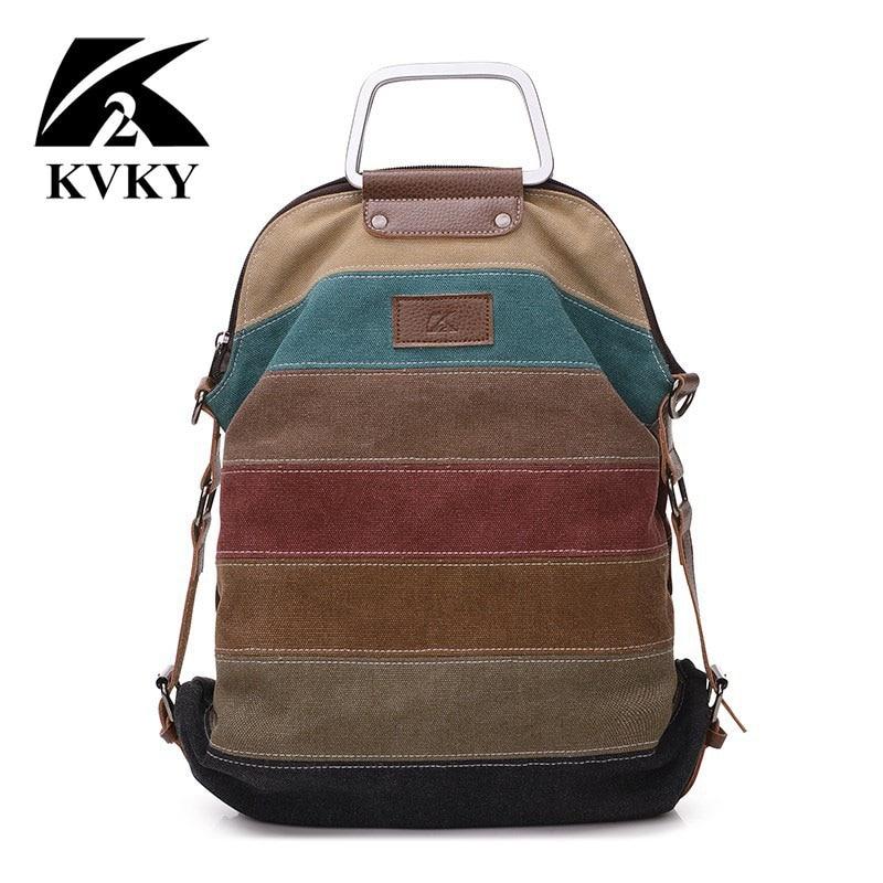 KVKY этнический Радужный женский холщовый рюкзак, женский полосатый многофункциональный лоскутный рюкзак, школьный рюкзак через плечо, Mochila B842