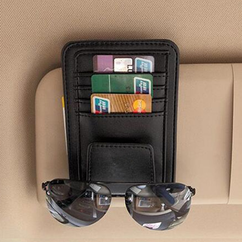 Car Sun Visor Glasses Holder Sunshades Credit Card Package For Ford Focus 2 3 4 1 Fiesta Fusion mondeo mk3 mk4 kuga mustang ka