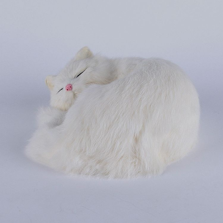Hermoso gato de simulación durmiendo plástico y piel lindo gato blanco muñeca regalo 25x20x11cm a106